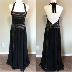 BCBGMaxAzria Silk Beaded Halter Dress